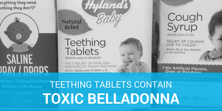 Box of Hyland's teething tablets which the fda has warned of toxic levels of belladonna