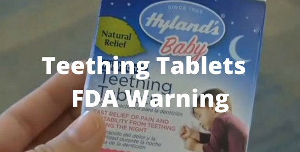 Mom holding box of hylands teething tablets that the fda issued a teething tablet recall for